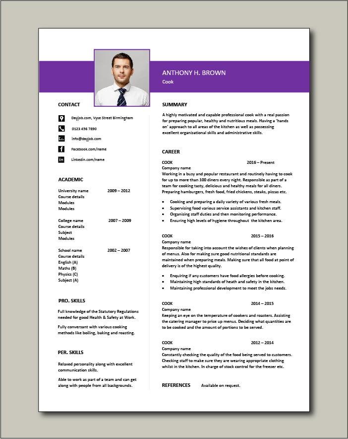Cook CV template, job description, chef jobs, CV example ...