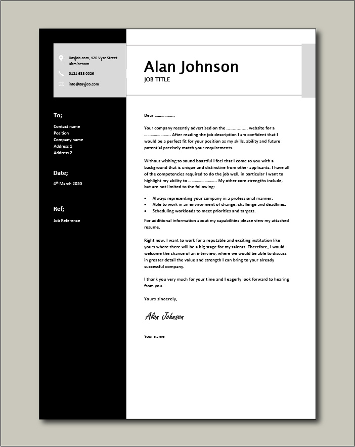 Free Cover Letter example 9 black
