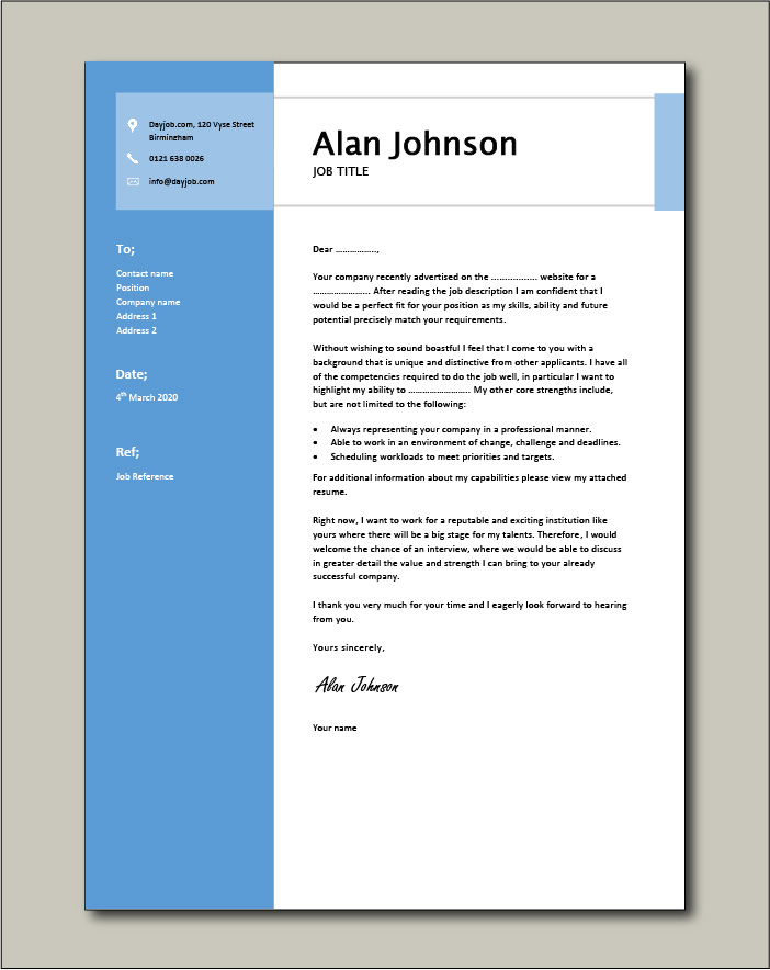 Free Cover Letter example 9 blue