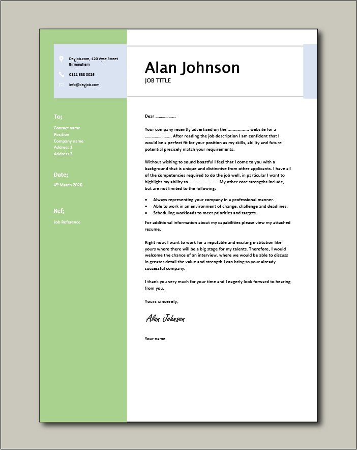 Free Cover Letter example 9 green