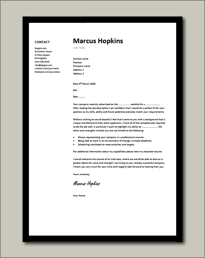 Free Cover letter example 1 - black
