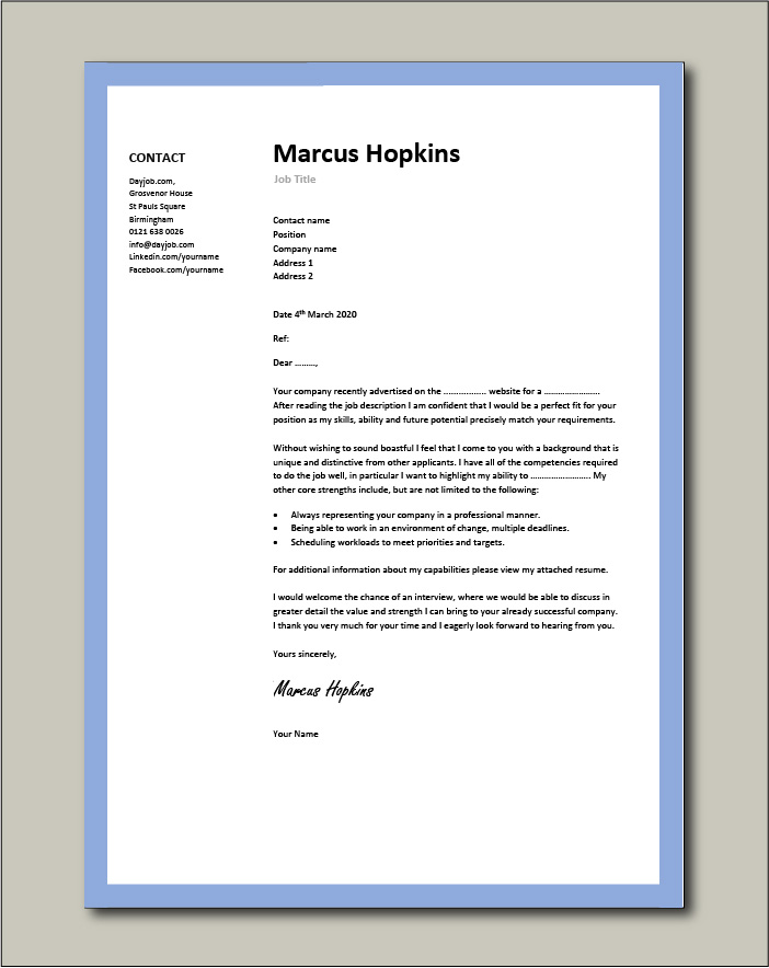 Free Cover letter example 1 - blue