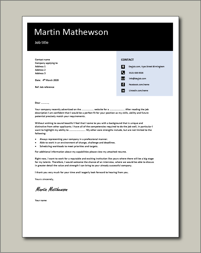 Free Cover letter example 10 black