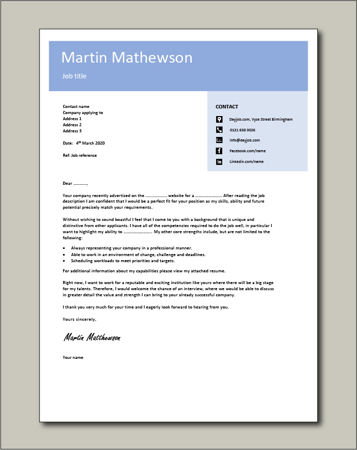 Free Cover letter example 10 blue