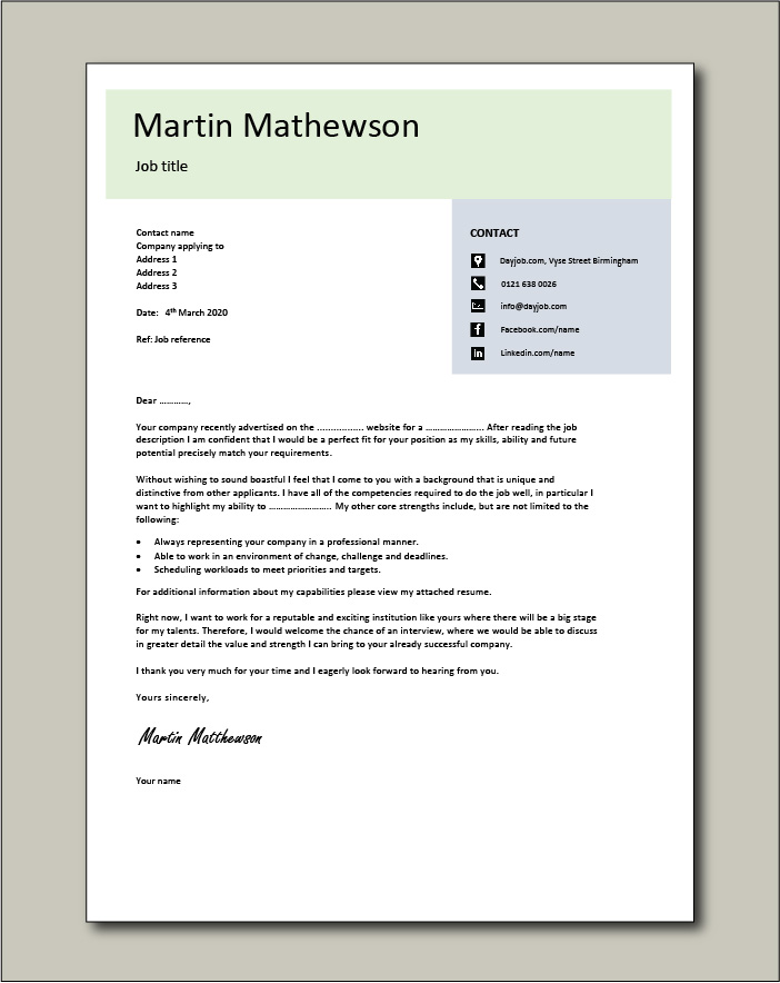 Free Cover letter example 10 green