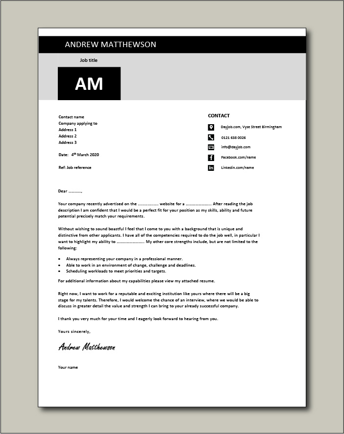 Free Cover letter example 12 black