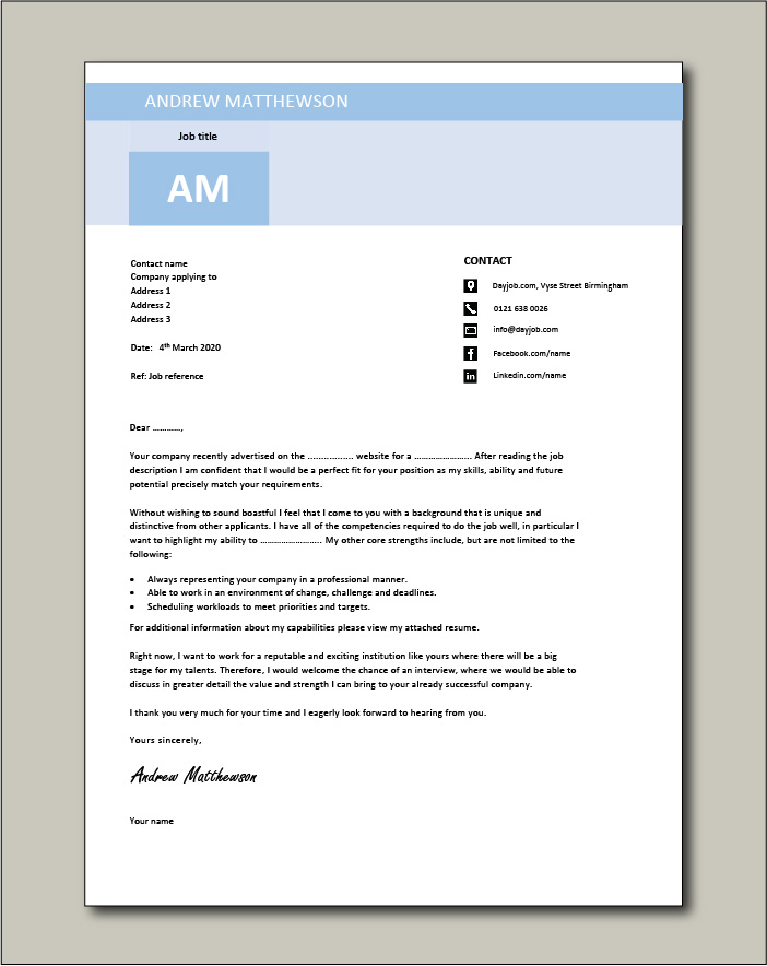 Free Cover letter example 12 blue