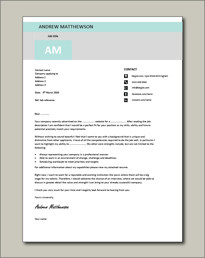 Free Cover letter example 12 green