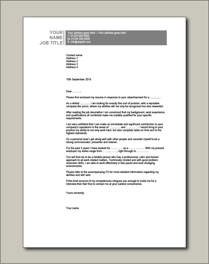Free Cover letter example 2 black