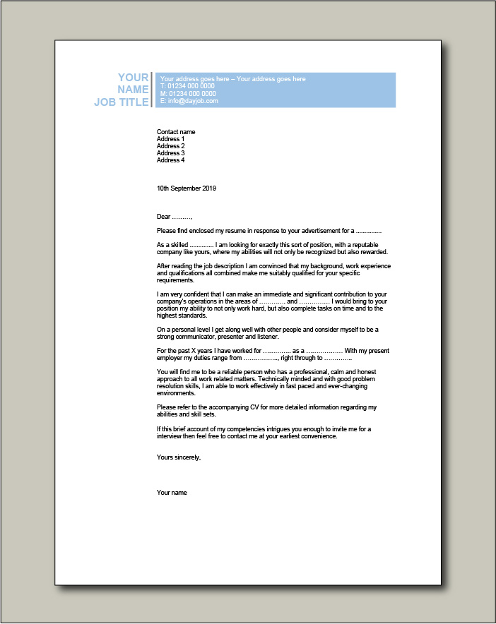 Free Cover letter example 2 blue