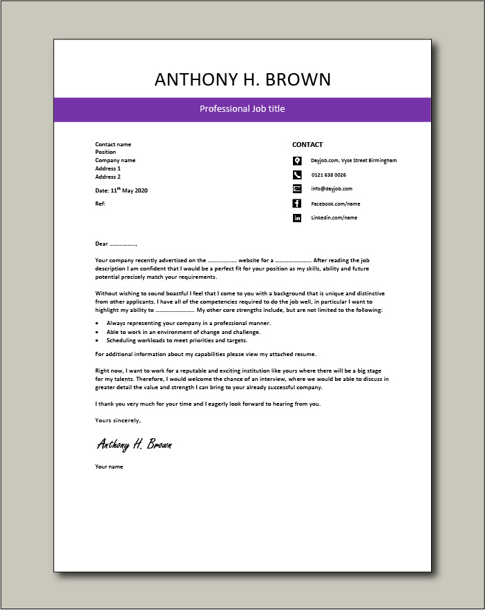 Free Cover letter example 70