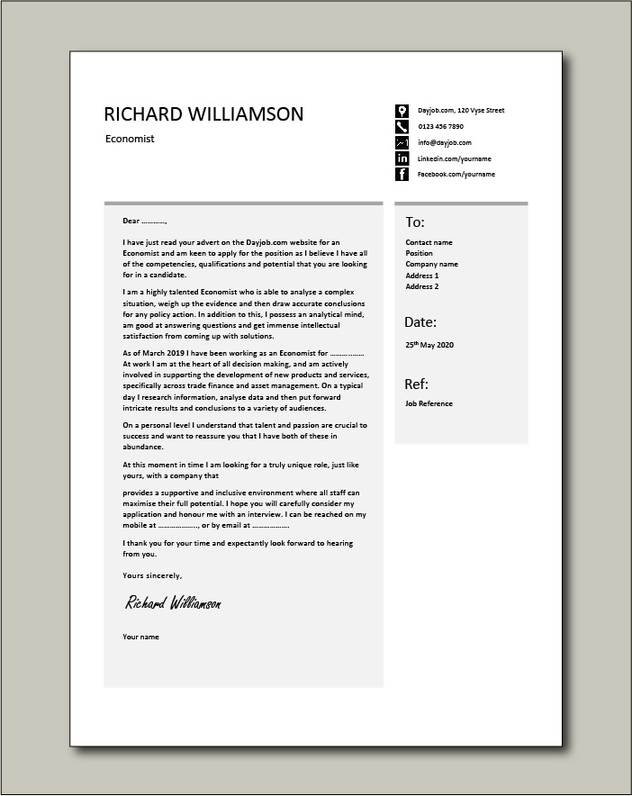 Free Economist cover letter example 2