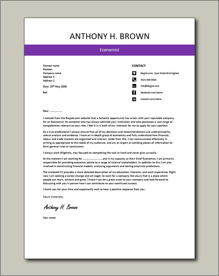 Free Economist cover letter example 4