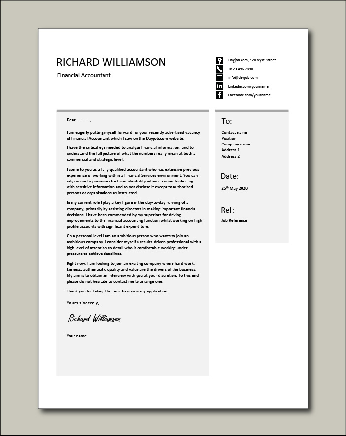 Free Financial Accountant cover letter example 2