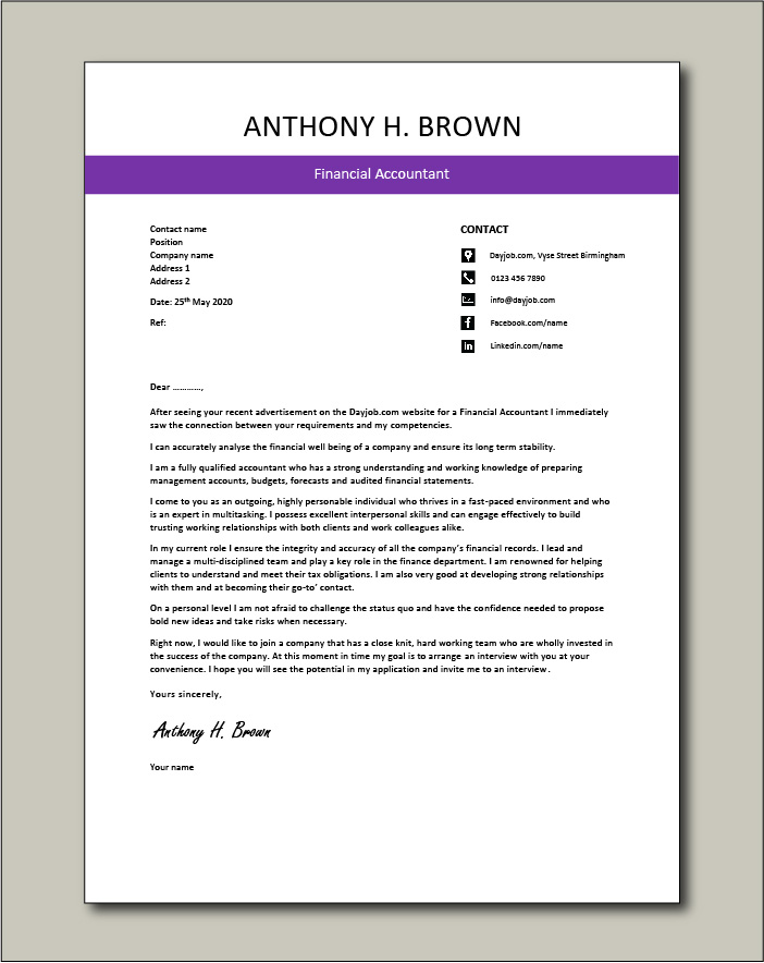Free Financial Accountant cover letter example 4