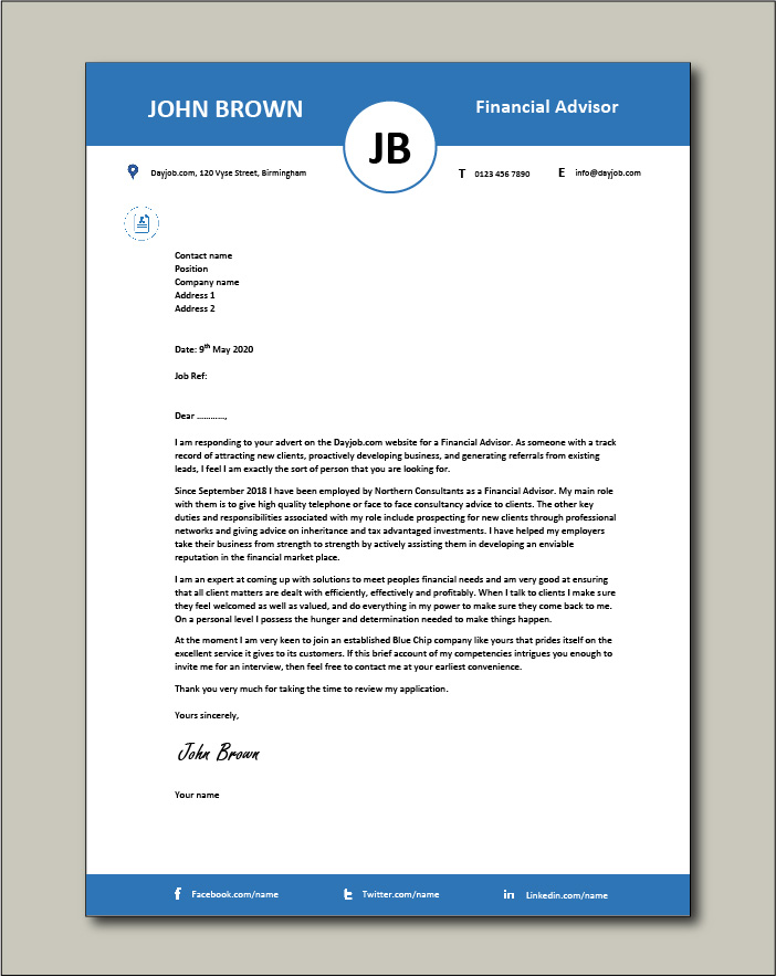 Free Financial Advisor cover letter example 4