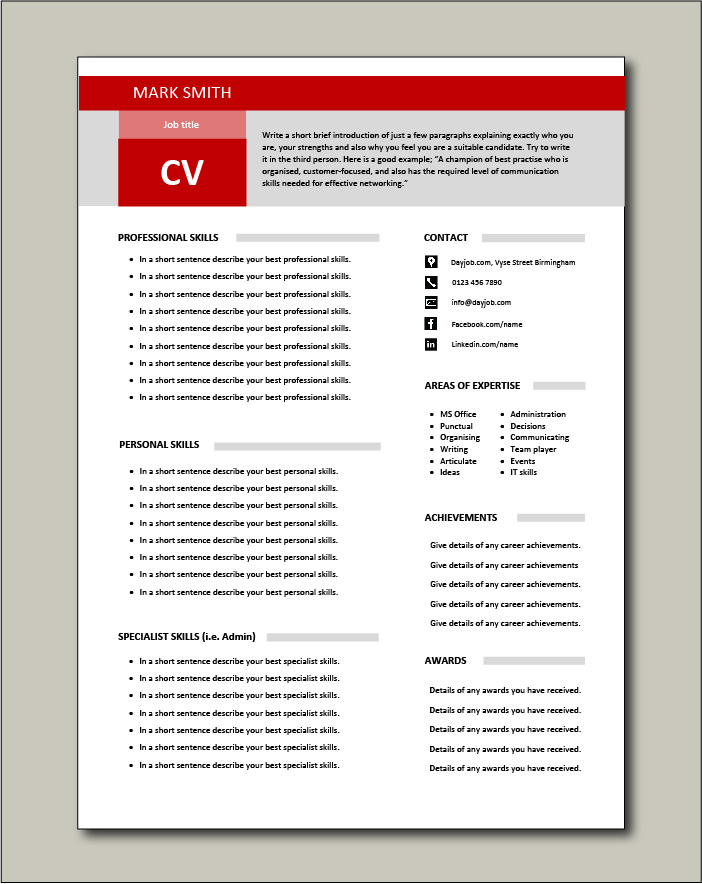 Free Functional CV template 1