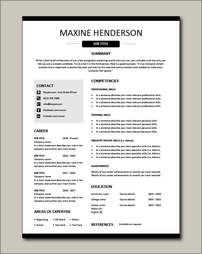 Free Functional CV template 3
