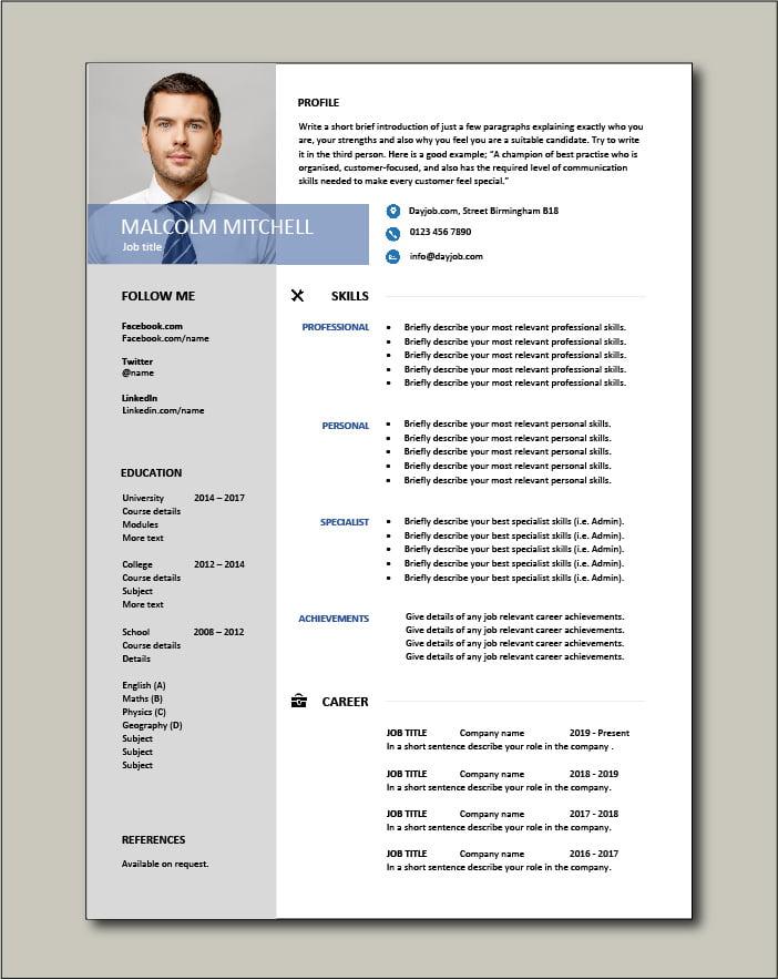 Free Functional CV template 4