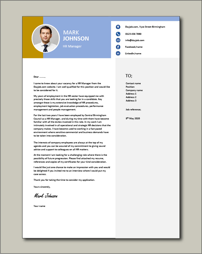Free HR Manager Cover Letter example 2