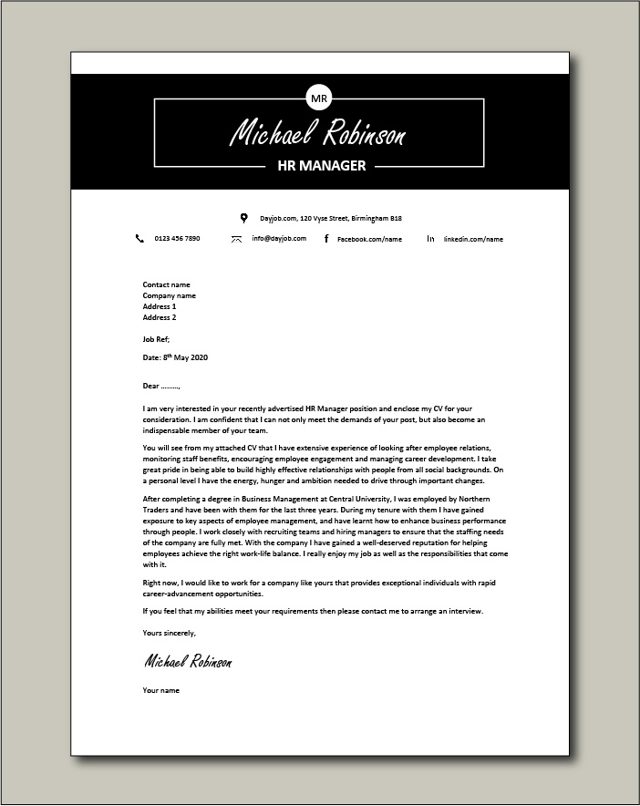 Free HR Manager Cover Letter example 3