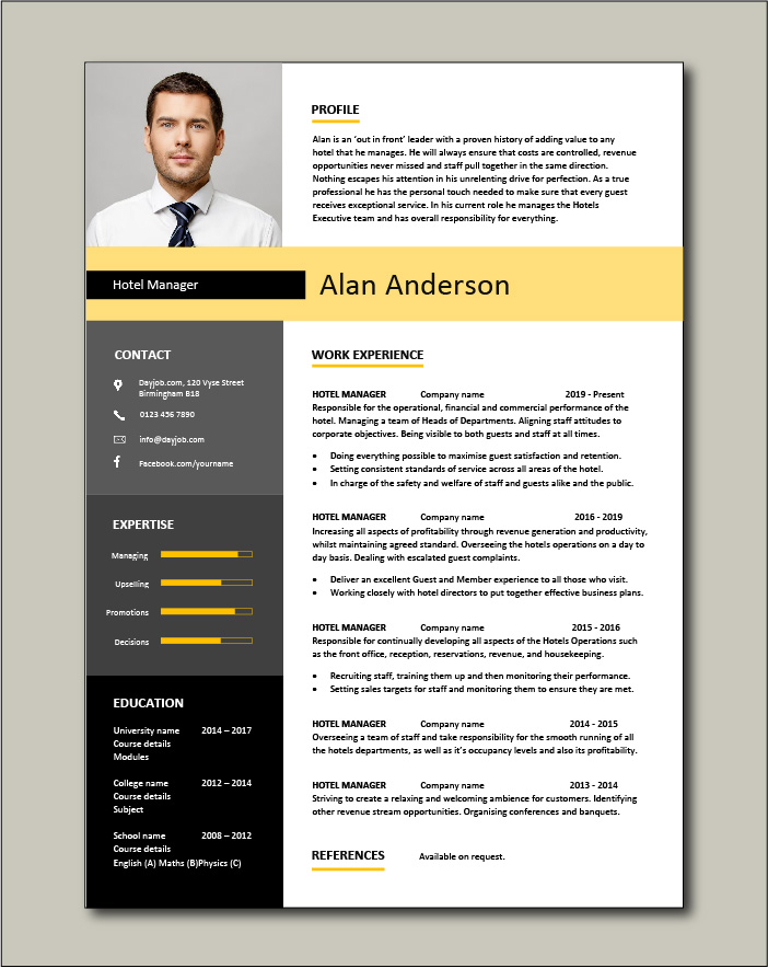 Free Hotel Manager CV template 1