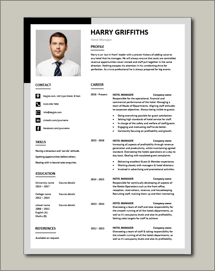 Free Hotel Manager CV template 3