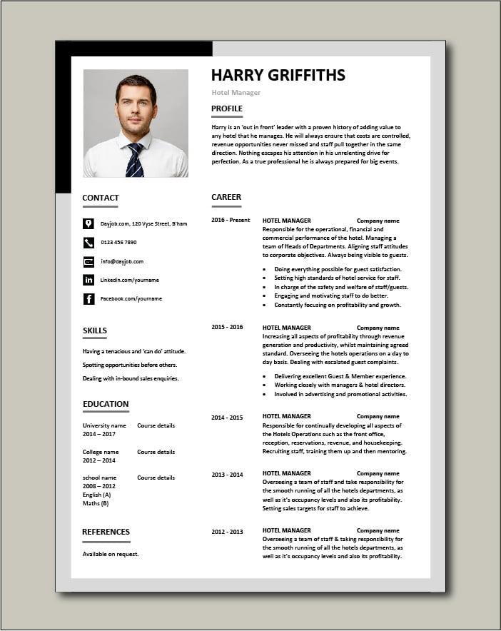Hotel Manager Cv Template Job Description Cv Example Resume People Skills Jobs