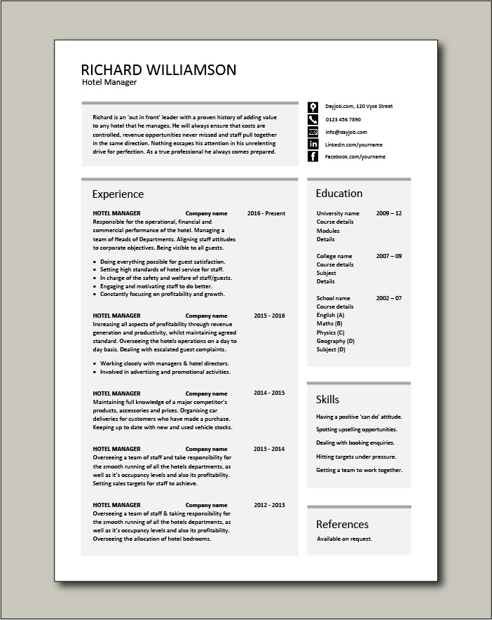 Free Hotel Manager CV template 4