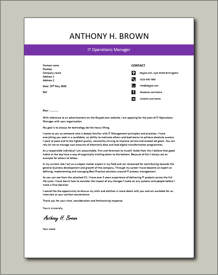 Free IT Operations Manager cover letter 3