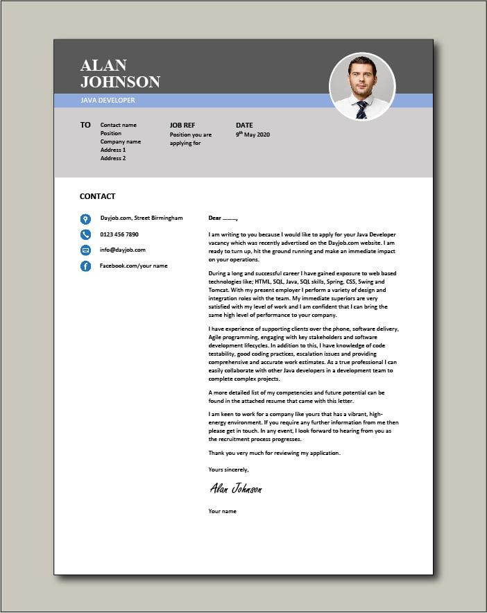 Free Java Developer Cover Letter Example 2