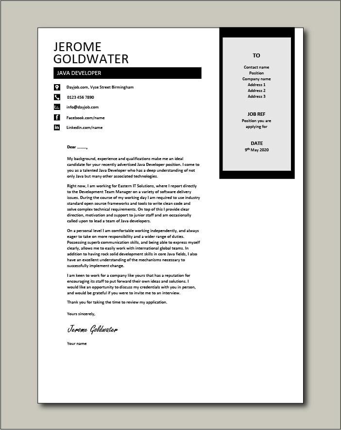 Free Java Developer cover letter example 3