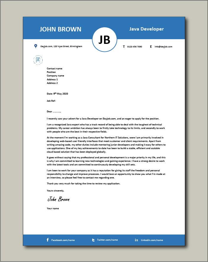 Free Java Developer Cover Letter Example 4