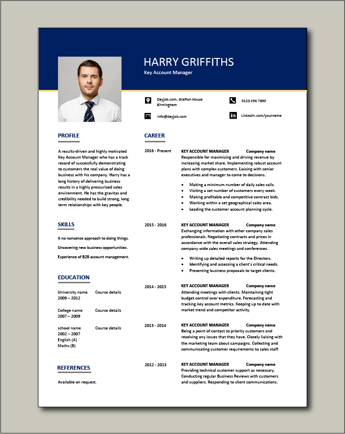 Free Key Account Manager resume 1