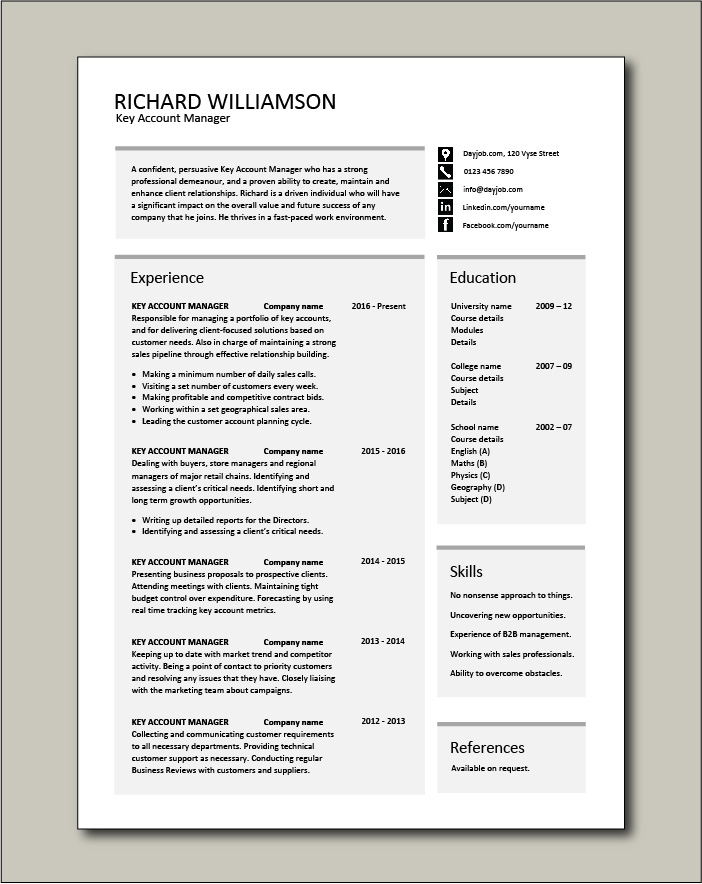 Free Key Account Manager resume 2