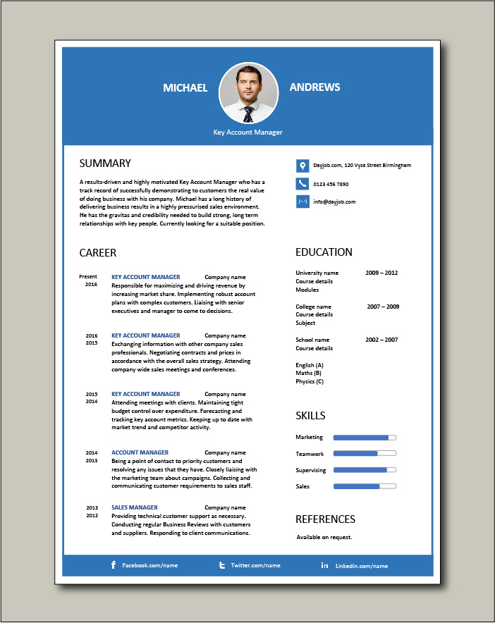 Free Key Account Manager resume 4