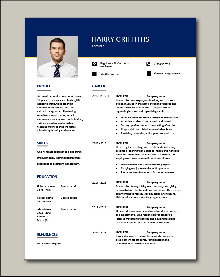 Free Lecturer CV template 1