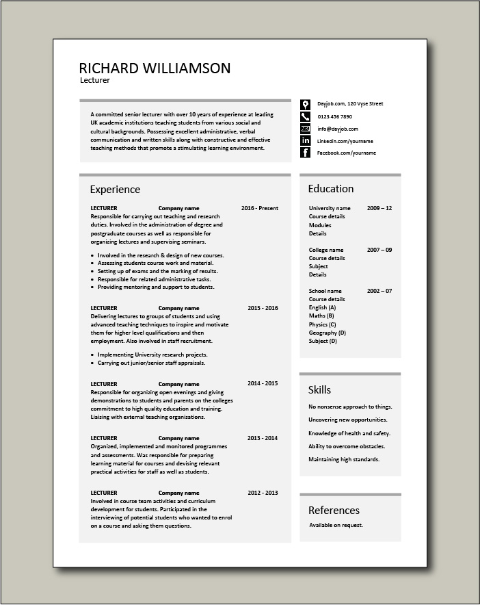 Free Lecturer CV template 2