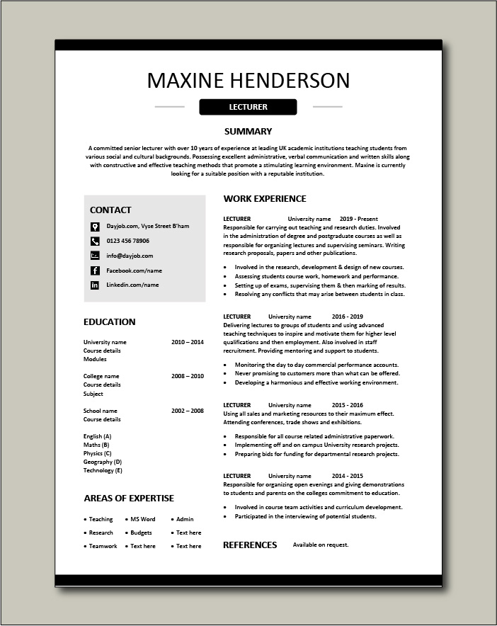 Free Lecturer CV template 3