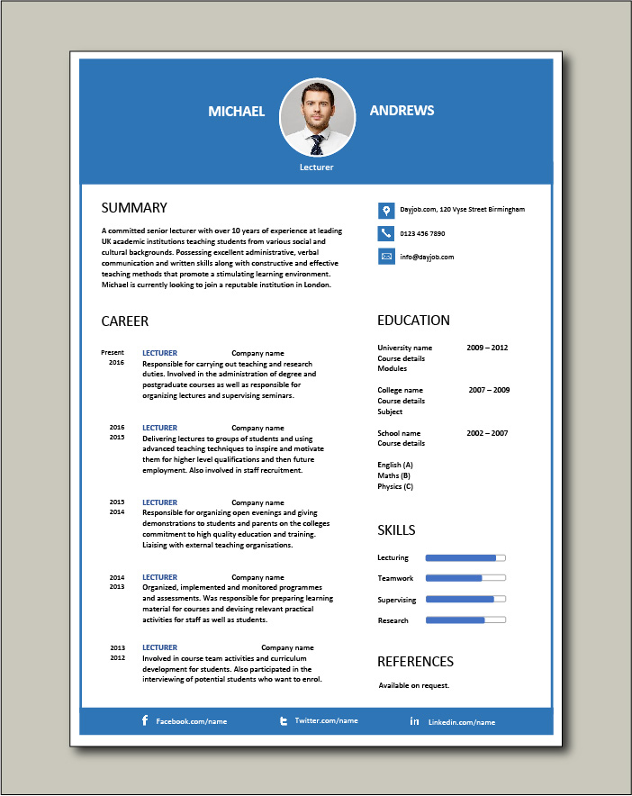 Free Lecturer CV template 4