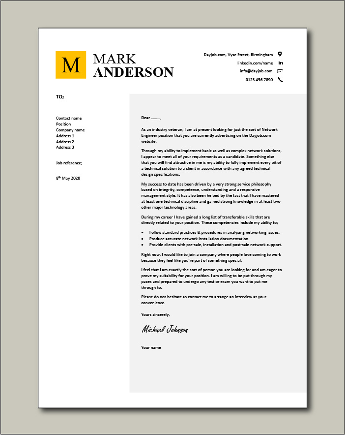 Engineer Cover Letter Example from www.dayjob.com