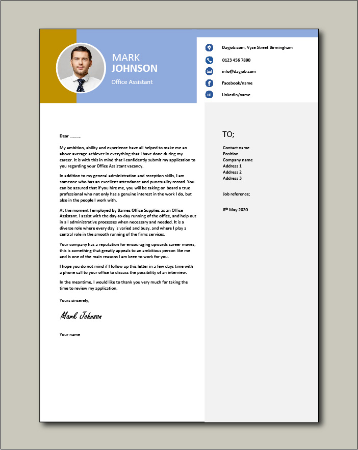 Office Assistant Cover Letter Example Secretary Job