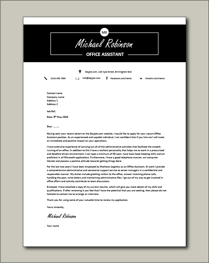 Cover Letter For Office Job from www.dayjob.com