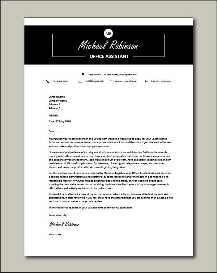 Office Assistant Cover Letter Example Secretary Job Description