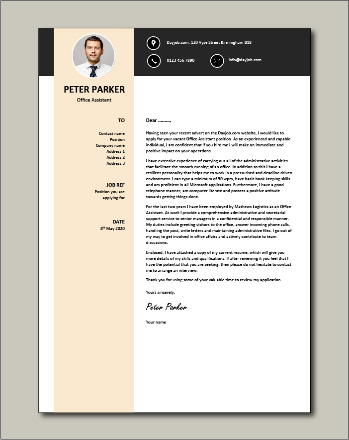 Free Office Assistant Cover Letter example 4