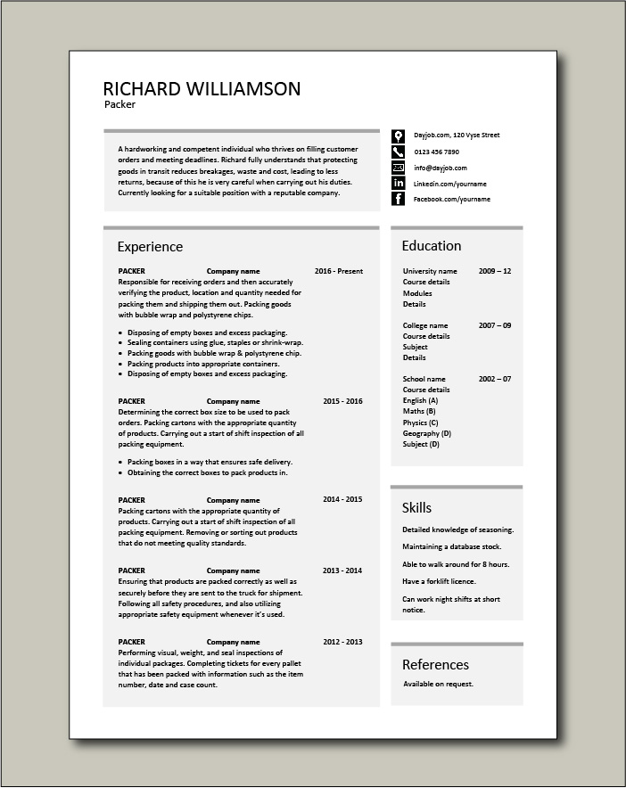 Packer Resume Packing Jobs Sample Manual Courses Training