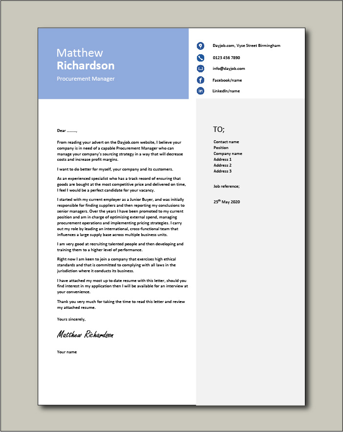 Free Procurement Manager cover letter example 1