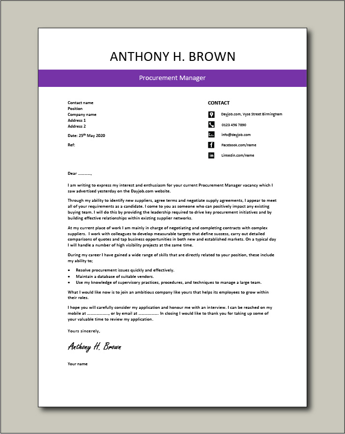 Free Procurement Manager cover letter example 3