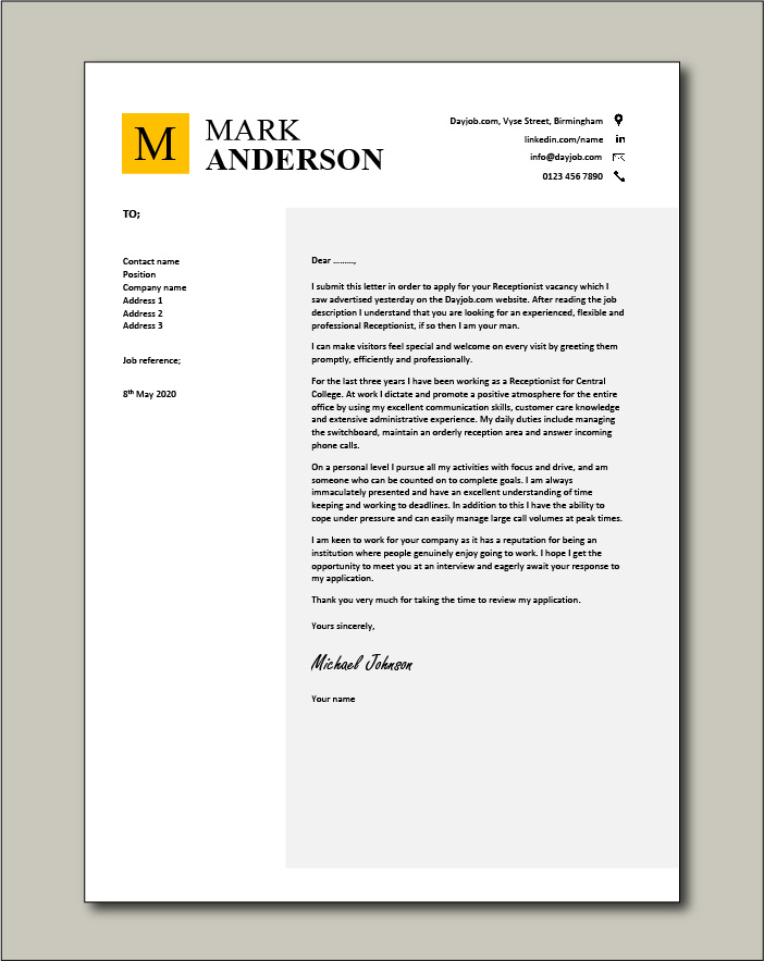 Sample Reception Cover Letter from www.dayjob.com