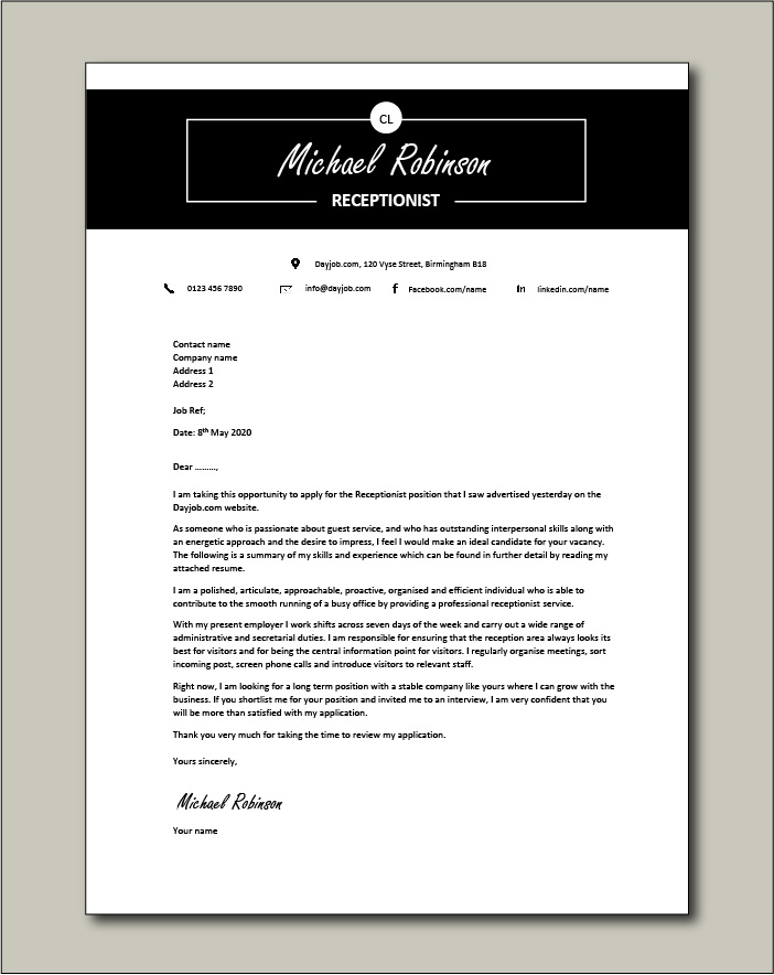 Free Receptionist Cover Letter example 3